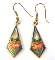 Vintage Dainty Cloisonne Enamel Floral Drop Earrings.
